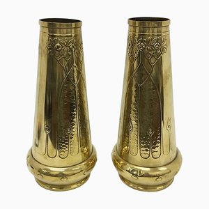 Art Nouveau English Brass Vases, 1900s, Set of 2
