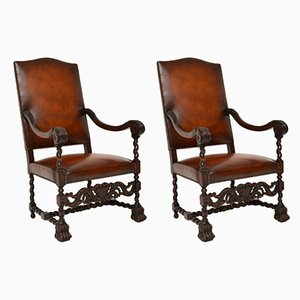 Antique Leather and Carved Oak Carolean Armchairs, Set of 2