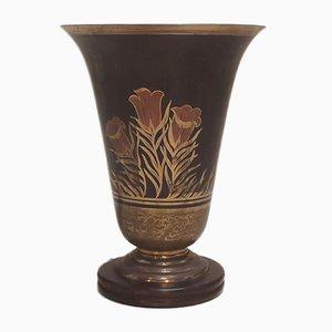 Lámpara de mesa francesa Art Déco de haya y latón de A. Ducobu, años 30