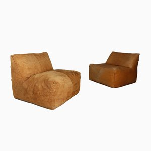 Italian Suede Lounge Chairs by Mario Bellini for B&B Italia / C&B Italia, 1972, Set of 2