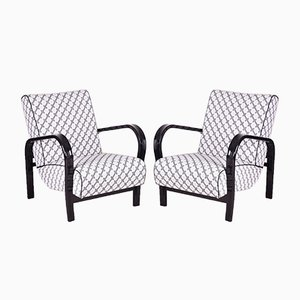 Art Deco Fabric and High-Gloss Lacquer Armchairs, 1920s, Set of 2