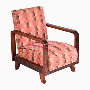 Vintage Art Déco Sessel aus Stoff und Ebenholz, 1930er