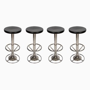 Mid-Century French Steel Bar Stools, 1950s, Set of 4