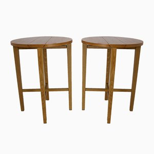 Mid-Century Foldable Teak Bedside Tables, Set of 2