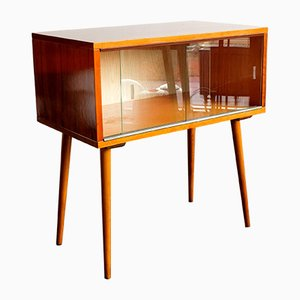 Small Czechoslovak Glass & Walnut Cabinet from Drevovyroba Kosice, 1970s