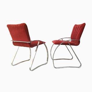 Italienische Esszimmerstühle aus Metall & Samt, 1970er, 4er Set