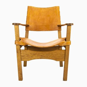 Danish Leather and Oak Armchair, 1960s