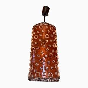 Orangefarbene Röhren-Hängelampe mit Krakensaugnapf-Motiv, 1970er