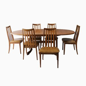 Mid-Century Teak & Vinyl Dining Chairs from G-Plan, 1970s, Set of 6