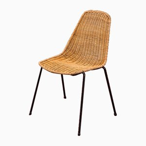 Mid-Century Steel and Wicker Side Chair, 1950s
