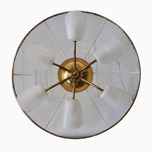 Lámpara de techo Mid-Century de latón y acrílico, años 50