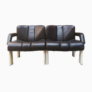 Vintage Italian Modular Leather Sofa, 1980s