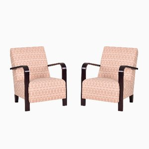 Art Deco Fabric and Oak Armchairs, 1930s, Set of 2