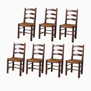 French Wood and Straw Side Chairs, 1950s, Set of 7
