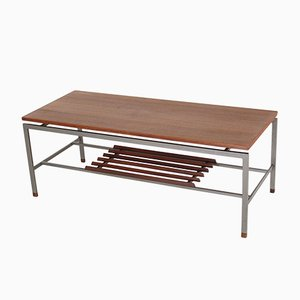 Modernist Steel and Teak Coffee Table, 1960s