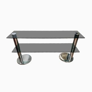 Italian Chrome Plated and Smoked Glass Console Table, 1970s