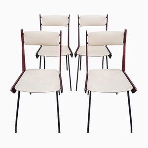 Italian Modern Brass, Iron, and Wood Boomerage Chairs, 1960s, Set of 4