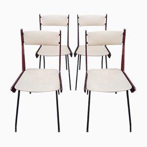 Italienische moderne Boomerage Stühle aus Messing, Eisen & Holz, 1960er, 4er Set