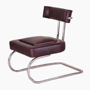 Art Déco röhrenförmiger Sessel aus Chrom & Leder von Mücke Melder, 1930er