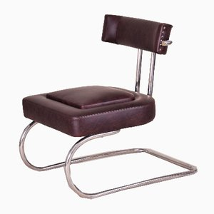 Art Deco Tubular Chrome and Leather Armchair from Mücke Melder, 1930s