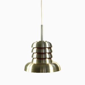 Mid-Century Danish Silver & Orange Aluminum Ceiling Lamp