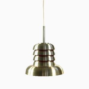 Mid-Century Danish Silver & Orange Aluminum Ceiling Lamp