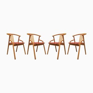 Beech and Leather Dining Chairs, 1980s, Set of 4