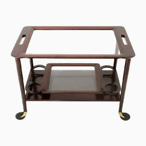 Mid-Century Italian Brass and Glass Trolley with Tray, 1950s