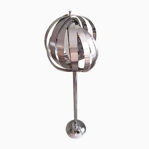 Lámpara de pie Moon francesa de metal cromado de Henri Mathieu, años 70