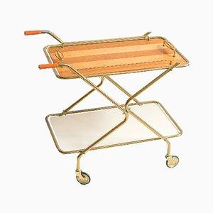Mid-Century Brass & Rattan Striped Bar Cart, 1960s
