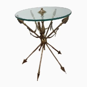 Mesa auxiliar de bronce y cristal de Vicente Cebriá, años 50
