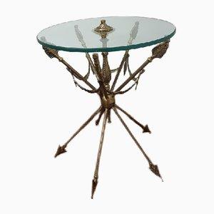 Tavolino in bronzo e cristallo di Vicente Cebriá, anni '50
