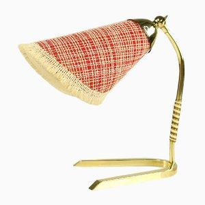 Deutsche Mid-Century Tischlampe mit Krähenfuß aus Messing und Stoffschirm, 1950er
