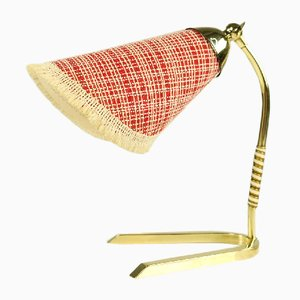 Mid-Century German Crow's Foot Brass Table Lamp with Fabric Shade, 1950s