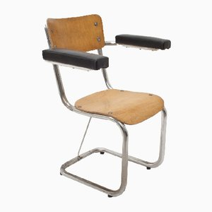 Industrial Leatherette and Wood Armchair from Gispen, 1950s
