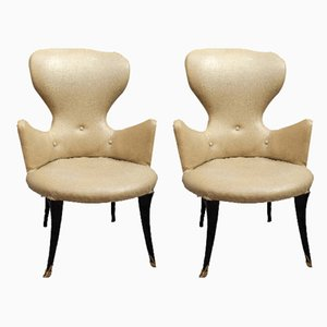 Italian Brass and Vinyl Armchairs, 1950s, Set of 2