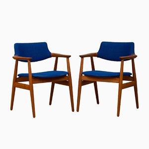 Skandinavische moderne dänische Armlehnstühle aus Teak & Wolle von Erik Kirkegaard für Glostrup, 1950er, 2er Set