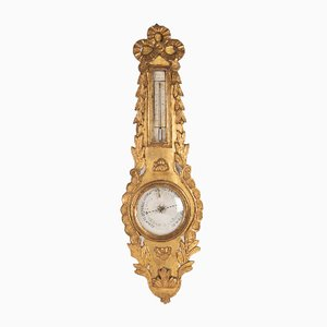 18th Century Louis XVI Golden Wood Barometer