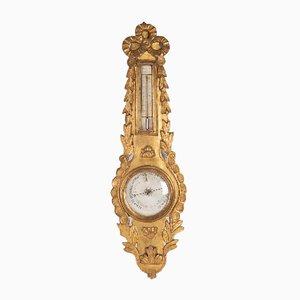 Goldenes Ludwig XVI Barometer aus Holz, 18. Jh.
