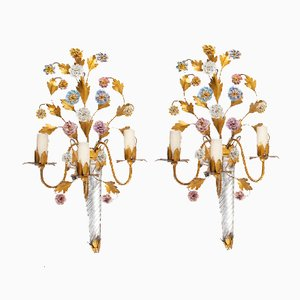 Mid-Century French Glass and Metal Sconces, Set of 2