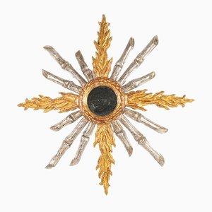 Mid-Century Sonnenspiegel mit goldenem & versilbertem Holzrahmen