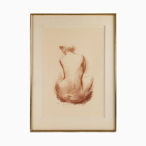 Vintage Nude Woman from Behind Framed Lithograph from Volti