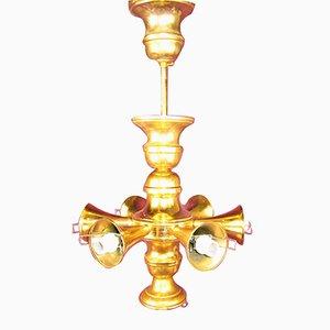 Mid-Century Brass Chandelier, 1950s