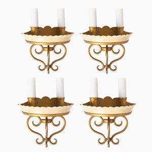 Mid-Century Wandlampen aus Metall, 4er Set