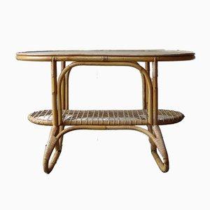 Table d'Appoint en Rotin et Verre Taillé de Rohé Noordwolde, 1950s