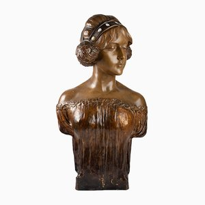 Antique Art Nouveau Terracotta Bust by Goldscheider