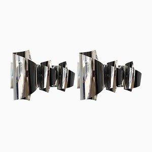 Apliques italianos de metal cromado en espiral de Reggiani, años 70. Juego de 2