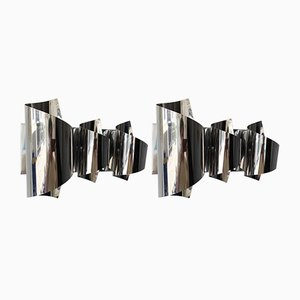 Italian Spiral Metal Chrome Sconces by Reggiani, 1970s, Set of 2