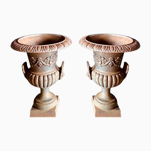 Large Antique Cast Iron Urns, Set of 2