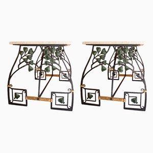 Tische aus Schmiedeeisen mit Travertinplatten, 1920er, 2er Set